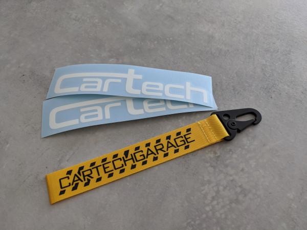 CarTech Bundle 2x Weiße Sticker + Schlüsselanhänger