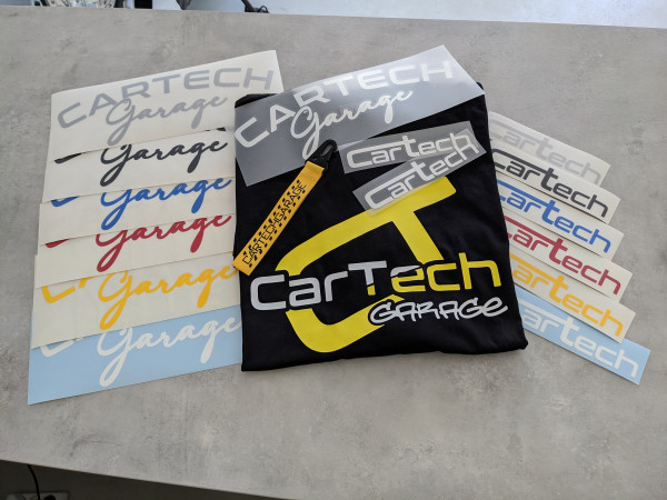 CarTech Mega Bundle T-Shirt Weiß/Gelb + WSS-Banner + Sticker + Schlüsselanhänger