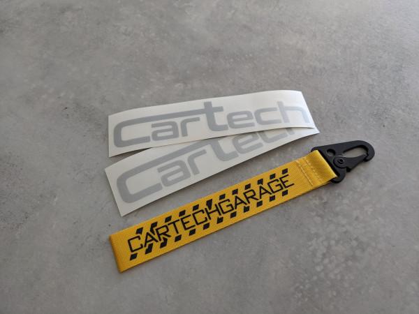 CarTech Bundle 2x Silber Sticker + Schlüsselanhänger